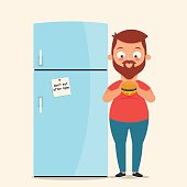 Character Standing Near the Fridge and Eating a Burger