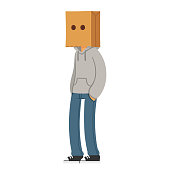 Character with paper bag hat on his head