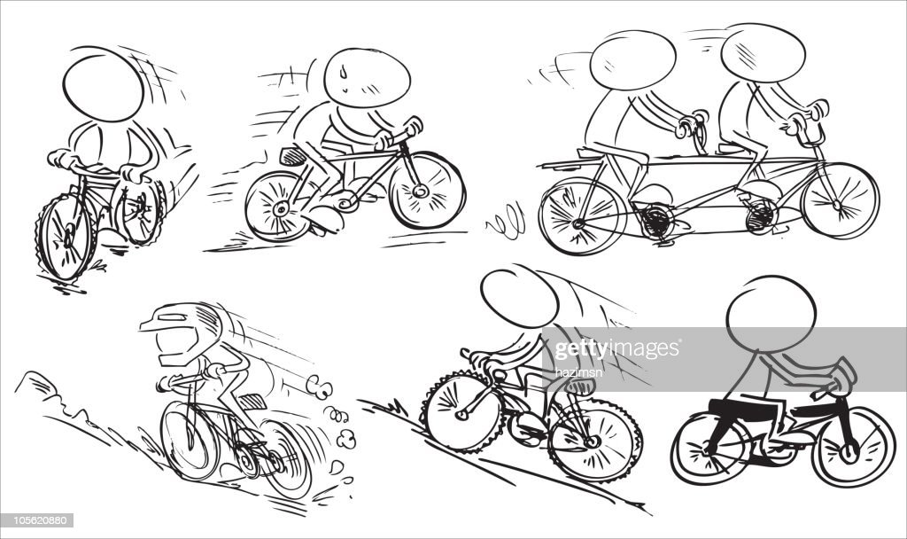 characters driving bicycle