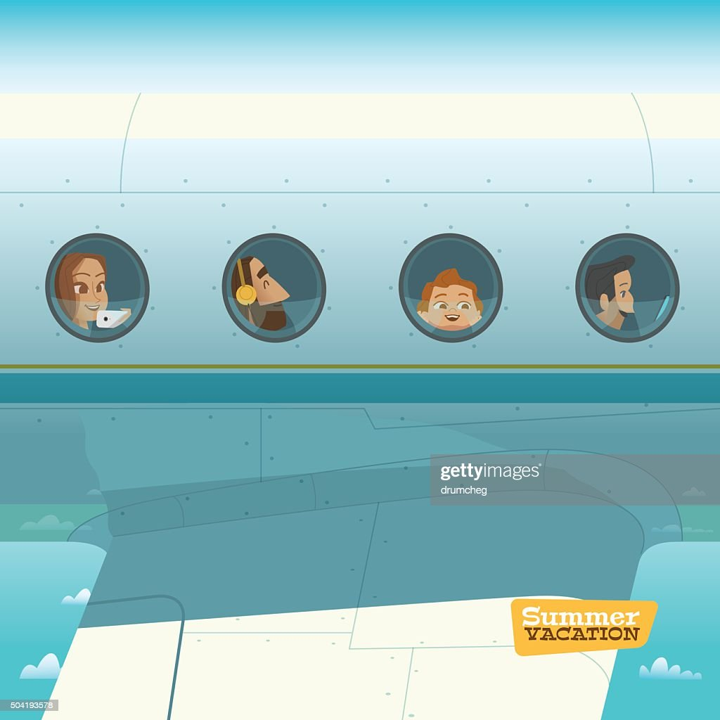 Characters in airplane vector illustration
