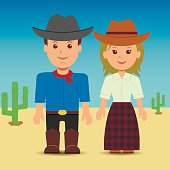 Characters man and woman in the Wild West.