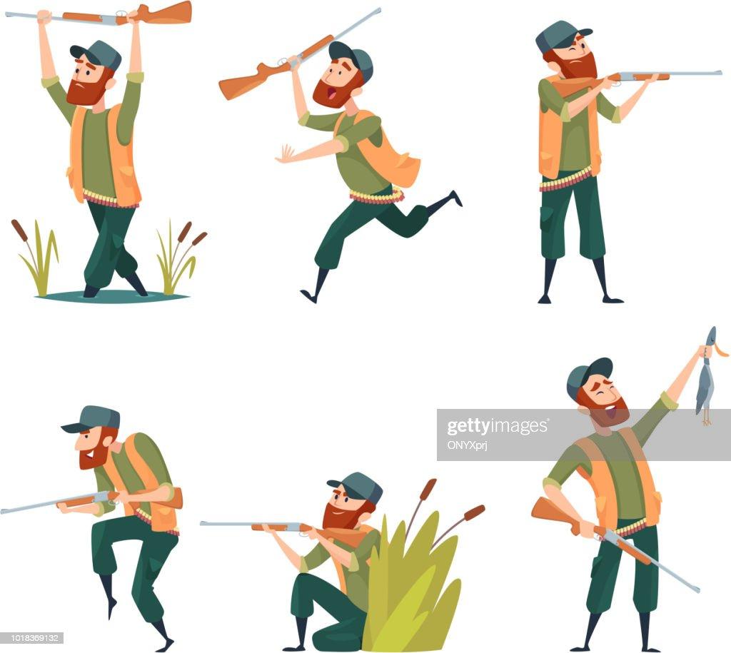 Characters of hunters. Vector cartoon illustrations of various hunter mascots