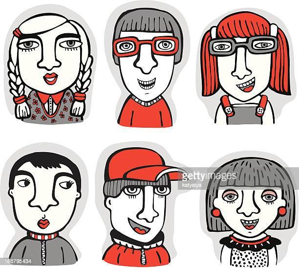 illustrations, cliparts, dessins animés et icônes de ensemble de caractères - jeunes filles