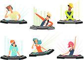 DJ characters. Vector illustrations of music cartoon mascots
