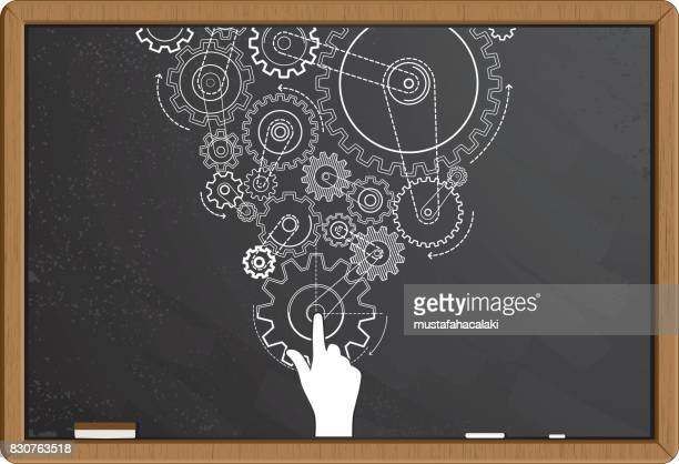 Charcoal gears drawing on blackboard