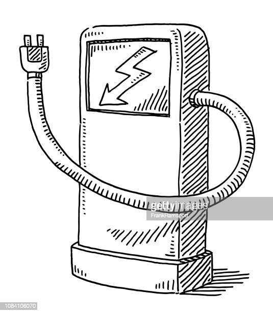 Spalte für Elektroautos aufladen Zeichnung