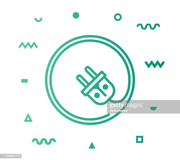 EV Charge Line Style Icon Design