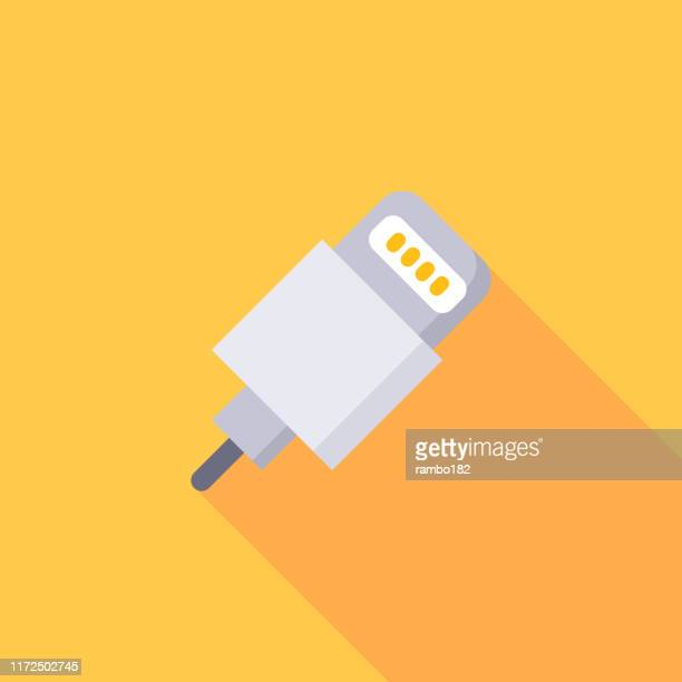 charger, cable flat icon. pixel perfect. for mobile and web. - adaptor stock illustrations
