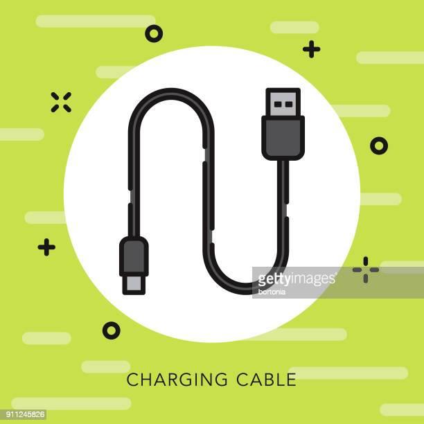 ilustrações, clipart, desenhos animados e ícones de cabo de carregamento de contorno aberto vaping ícone - usb cable