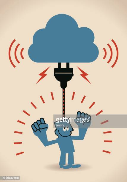 Charging idea brain or cloud computing concept, businessman with electrical plug plugging in the cloud database and his fists raised