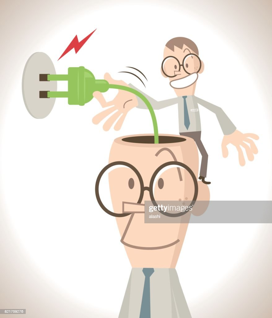 Charging idea concept, businessman with open head and electrical plug, a little business man plugging in the brain