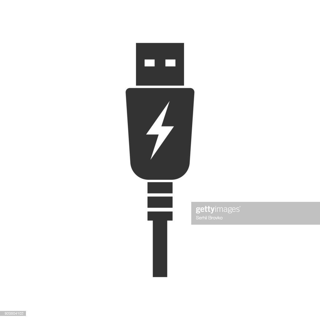 USB charging plug icon. Vector illustration.
