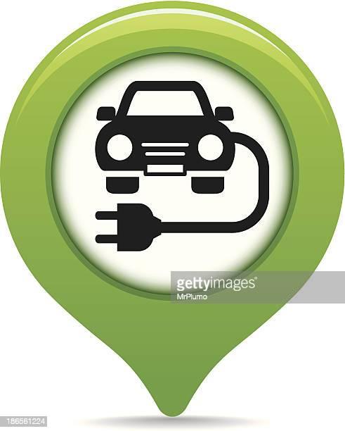 ilustraciones, imágenes clip art, dibujos animados e iconos de stock de mapa de punto de carga puntero - vehículo eléctrico