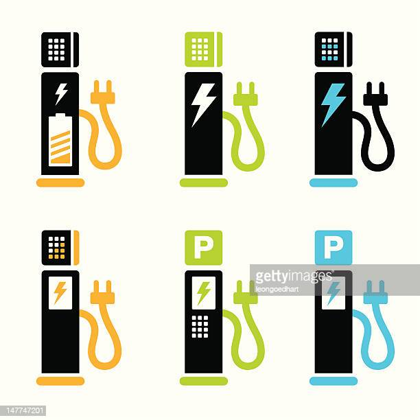 charging point or parking for electric car - hybrid car stock illustrations, clip art, cartoons, & icons
