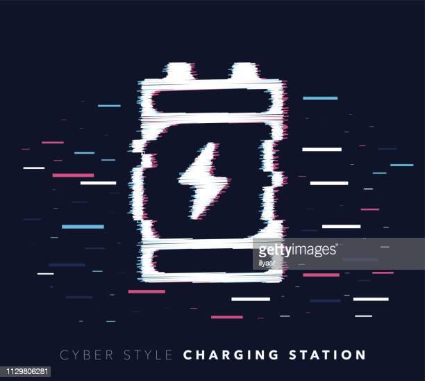 ilustrações, clipart, desenhos animados e ícones de estação falha efeito vector icon ilustração de carregamento - abastecendo