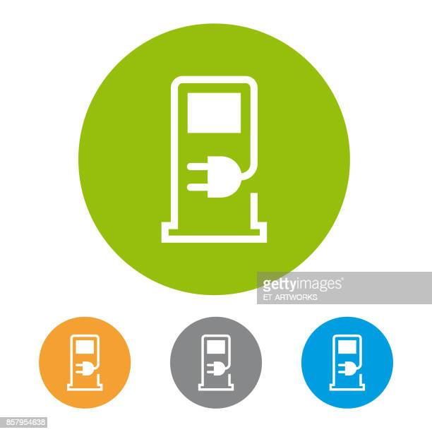 charging station icon - electric plug stock illustrations