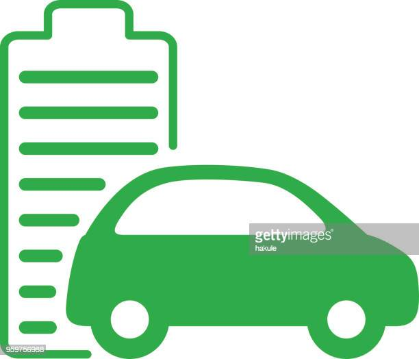 charging station icon with electric car, vector icon - hybrid car stock illustrations, clip art, cartoons, & icons