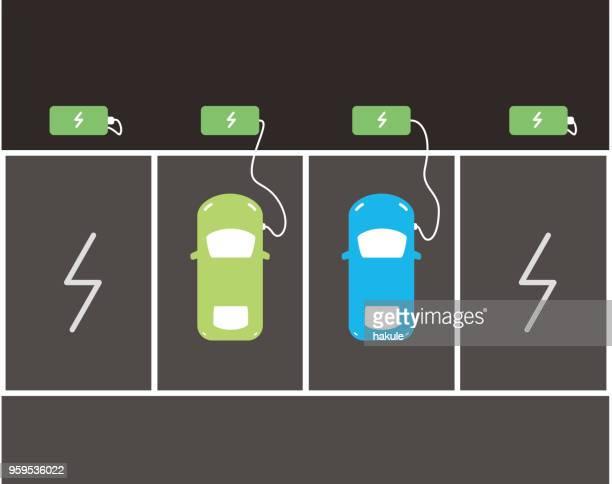 illustrazioni stock, clip art, cartoni animati e icone di tendenza di charging station with electric car, top view, vector icon - attaccante