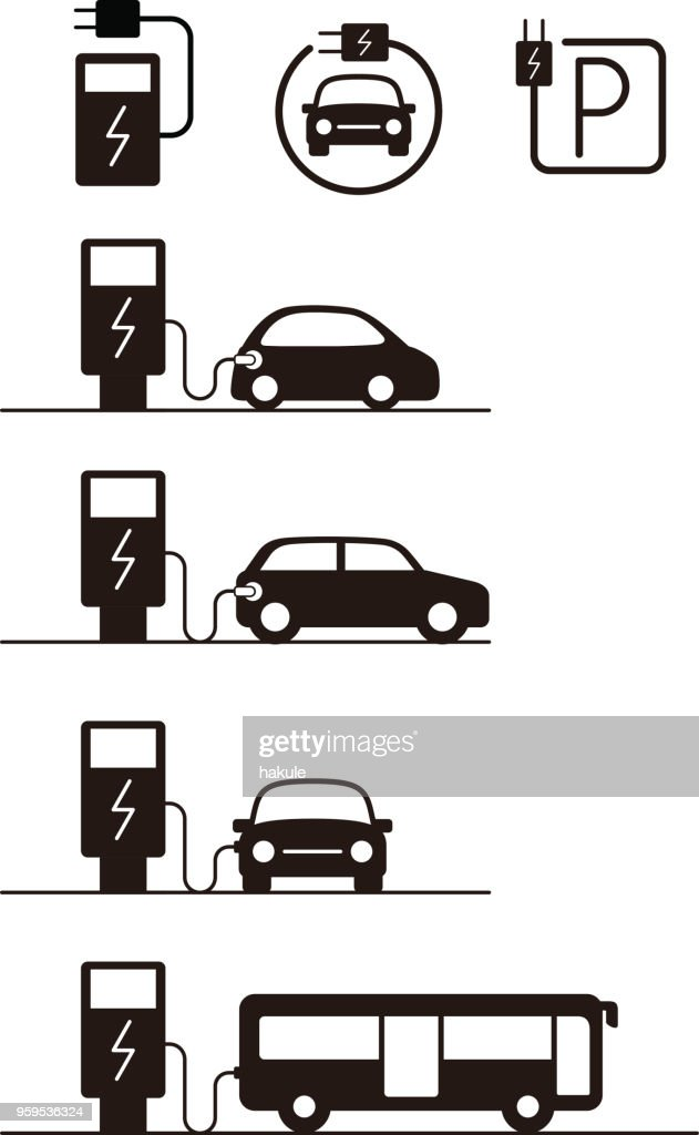 Ladestation mit Elektro-Auto, Vektor icon : Stock-Illustration