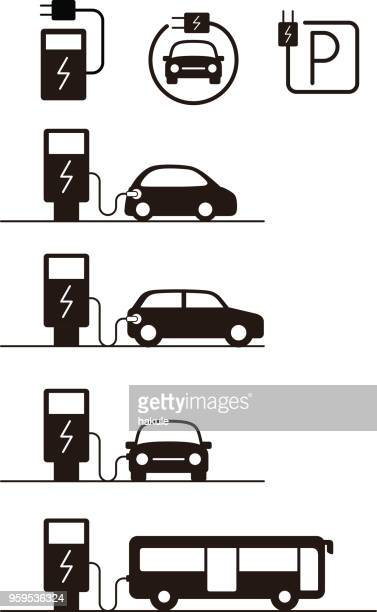 charging station with electric car, vector icon - station stock illustrations
