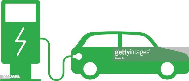 charging station with electric car, vector icon - electric vehicle charging station stock illustrations