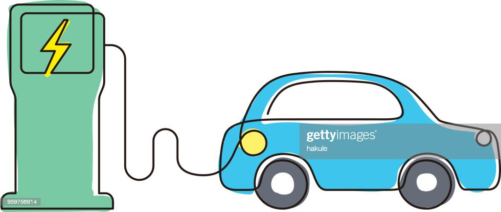 charging station with electric car, vector icon : stock illustration