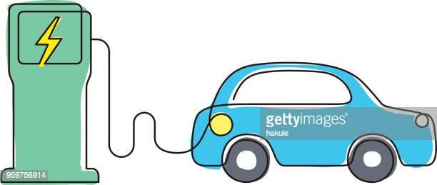 ladestation mit elektro-auto, vektor icon - station stock-grafiken, -clipart, -cartoons und -symbole