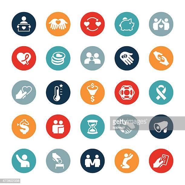 慈善事業への寄付アイコン - ファンドレイジング点のイラスト素材/クリップアート素材/マンガ素材/アイコン素材