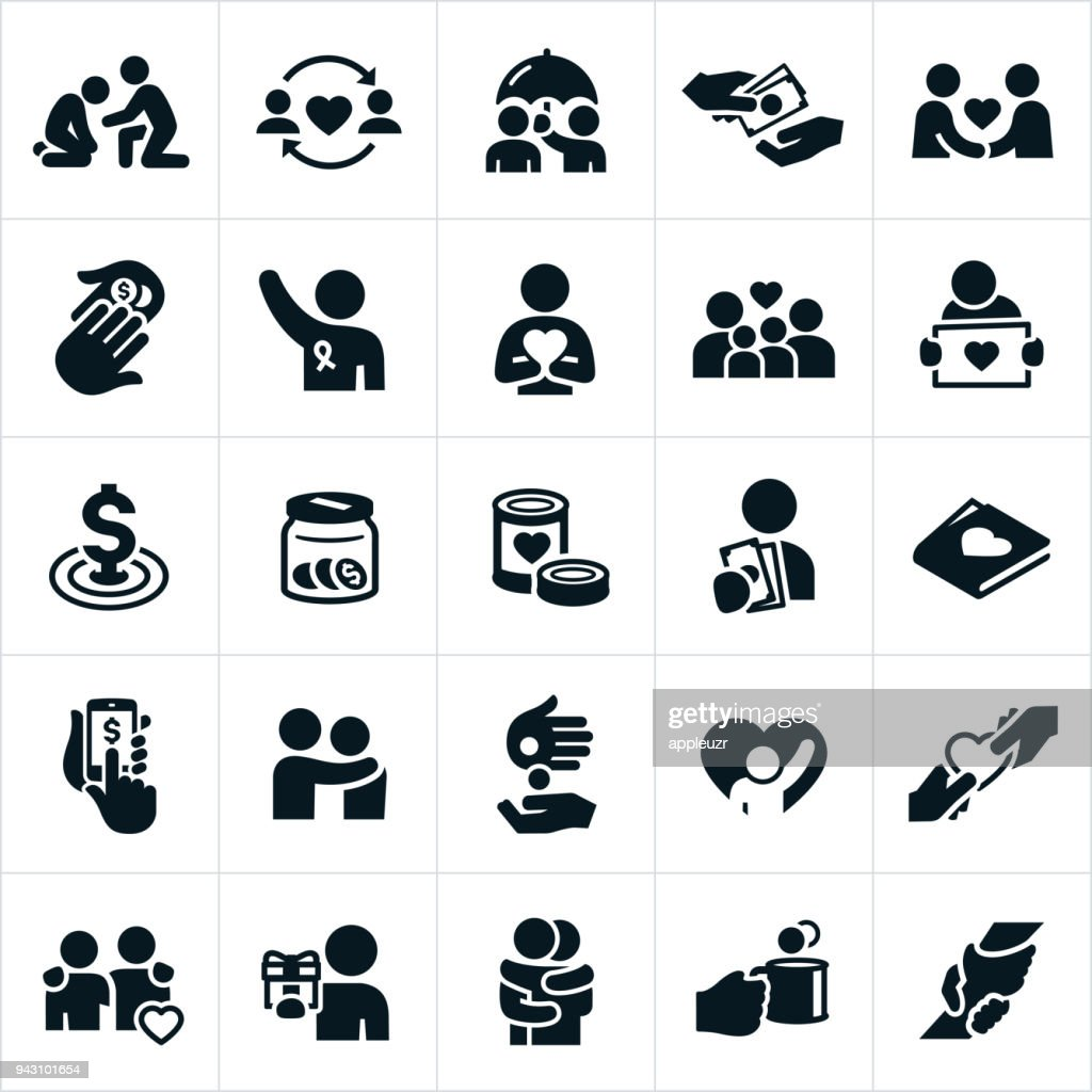 Charitable Giving Icons : stock illustration