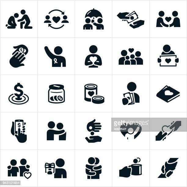 charitable giving icons - poverty stock illustrations