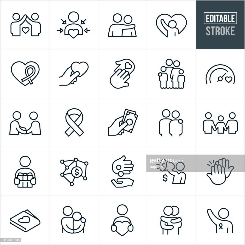 Charitable Giving Line Icons - Editable Stroke : stock illustration
