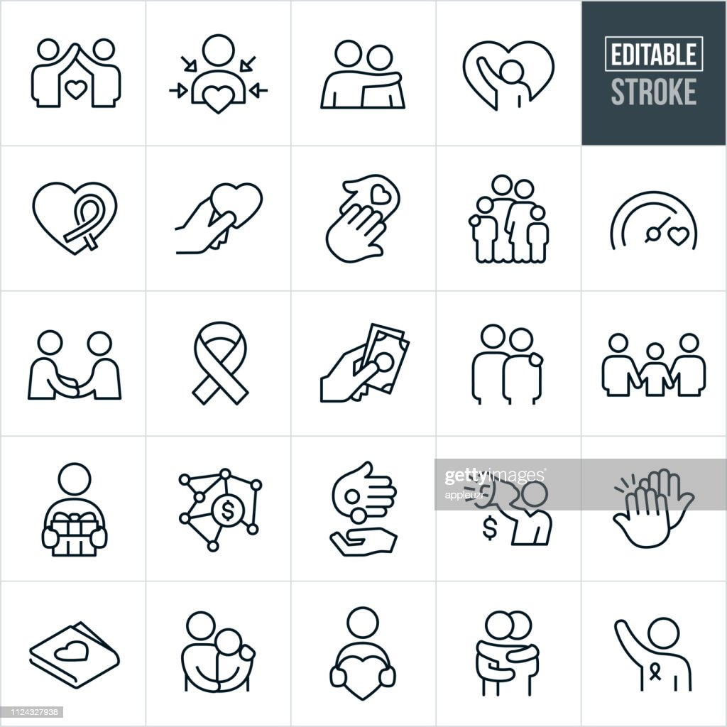 Charitable Giving Line Icons - Editable Stroke