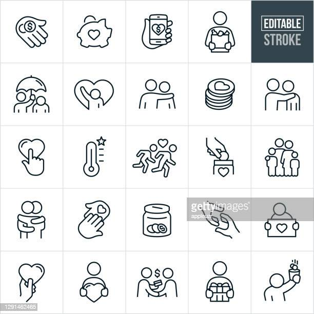 charitable giving line icons - editable stroke - healthcare worker stock illustrations