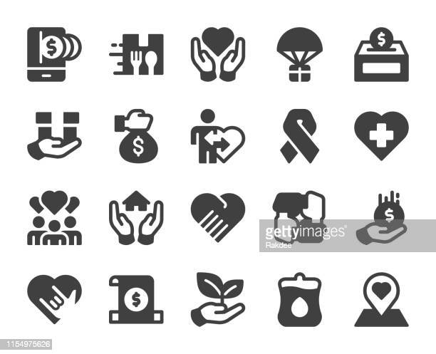charity and donate - icons - aids awareness ribbon stock illustrations