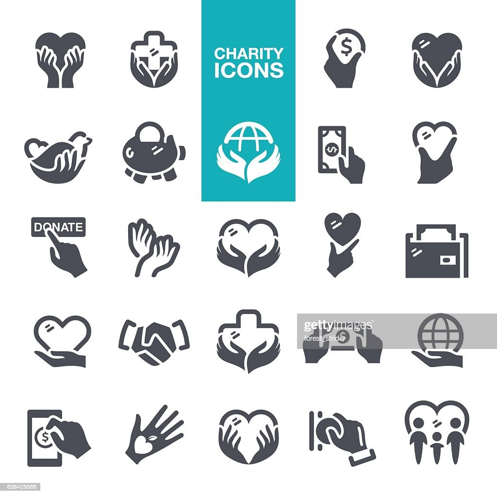 Charity and Donate Icons : stock illustration