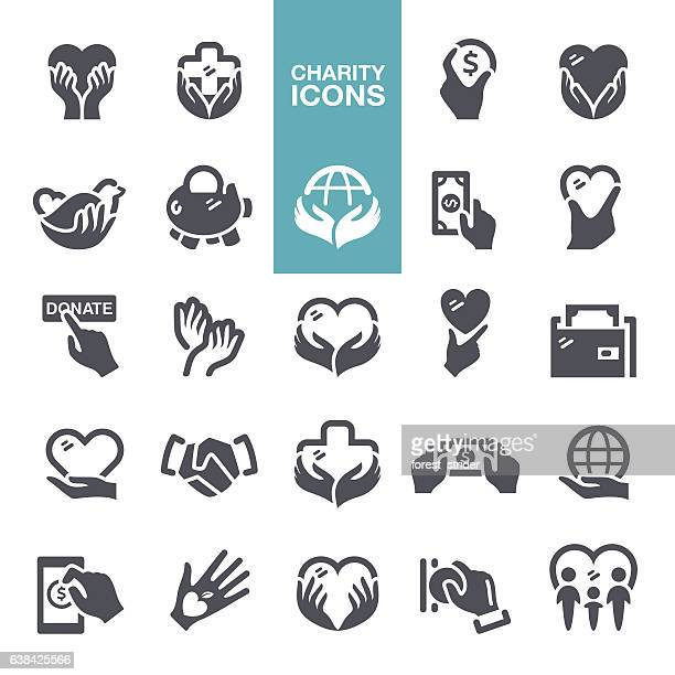 charity and donate icons - relief carving stock illustrations