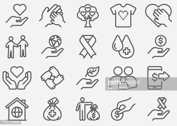 nächstenliebe und spenden zeile symbole - aids schleife stock-grafiken, -clipart, -cartoons und -symbole