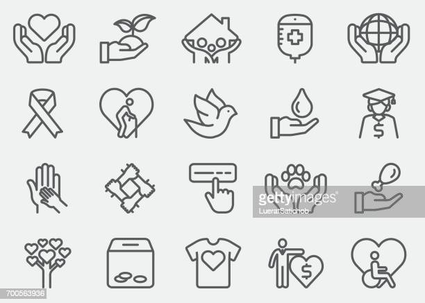 charity and donate line icons - heart symbol stock illustrations