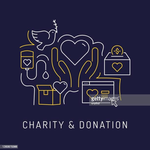 charity und spende konzept, moderne linie kunst icons hintergrund. linearer stil vektor illustration. - benefiz veranstaltung stock-grafiken, -clipart, -cartoons und -symbole