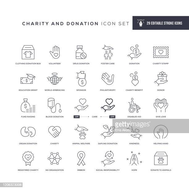 charity and donation editable stroke line icons - charitable donation stock illustrations