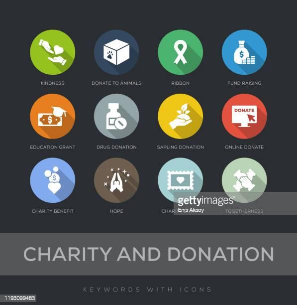illustrazioni stock, clip art, cartoni animati e icone di tendenza di set di icone di design piatto di beneficenza e donazione - organizzazione no profit
