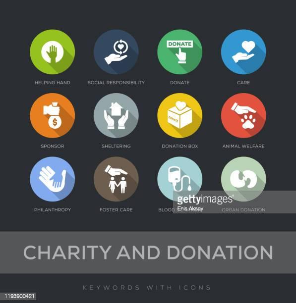 bildbanksillustrationer, clip art samt tecknat material och ikoner med välgörenhet och donation flat design ikonuppsättning - sponsra
