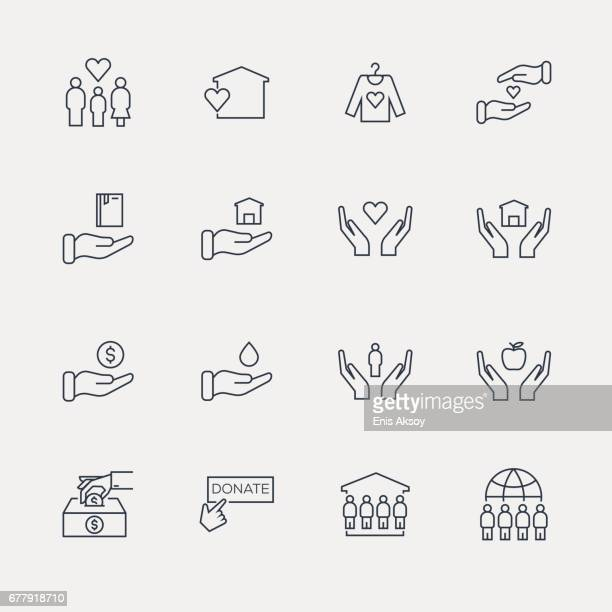 charity and donation icon set - line series - foundation stock illustrations, clip art, cartoons, & icons