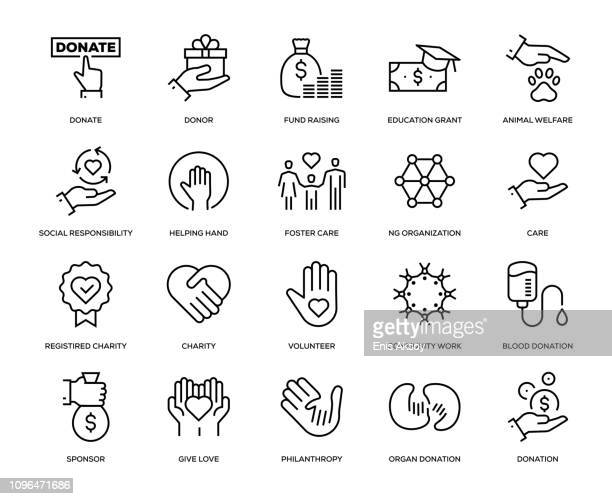 charity and donation icon set - healthy lifestyle stock illustrations