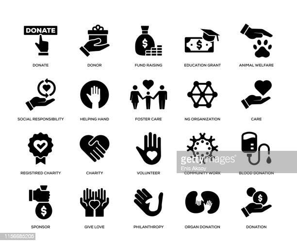 charity and donation icon set - charitable donation stock illustrations