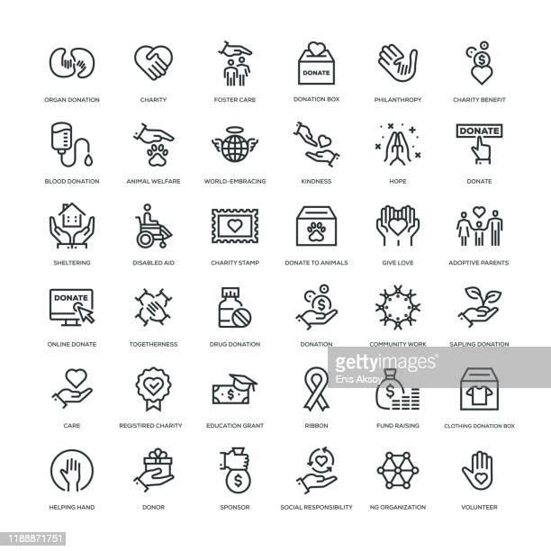 charity and donation icon set - social services stock illustrations