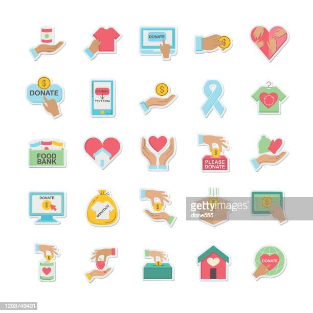 charity and donation icon sticker - giving tuesday stock illustrations