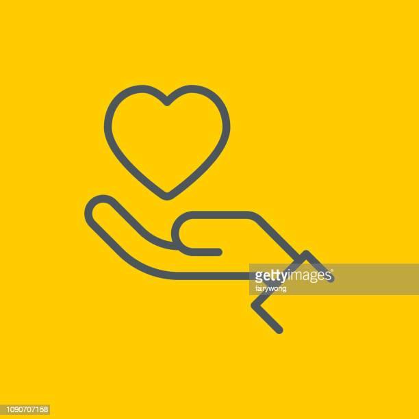 ilustrações, clipart, desenhos animados e ícones de ícone de caridade e doação - relief emotion