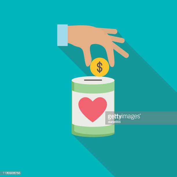 charity and donation icon with long shadow - charitable donation stock illustrations