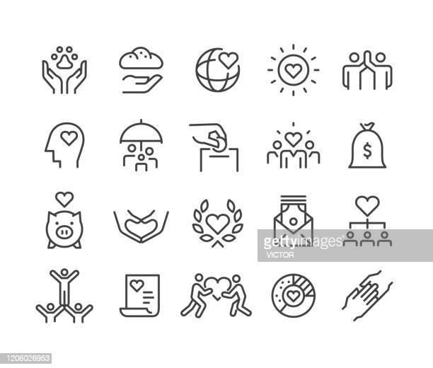 bildbanksillustrationer, clip art samt tecknat material och ikoner med välgörenhet och donation ikoner - classic line series - sponsra